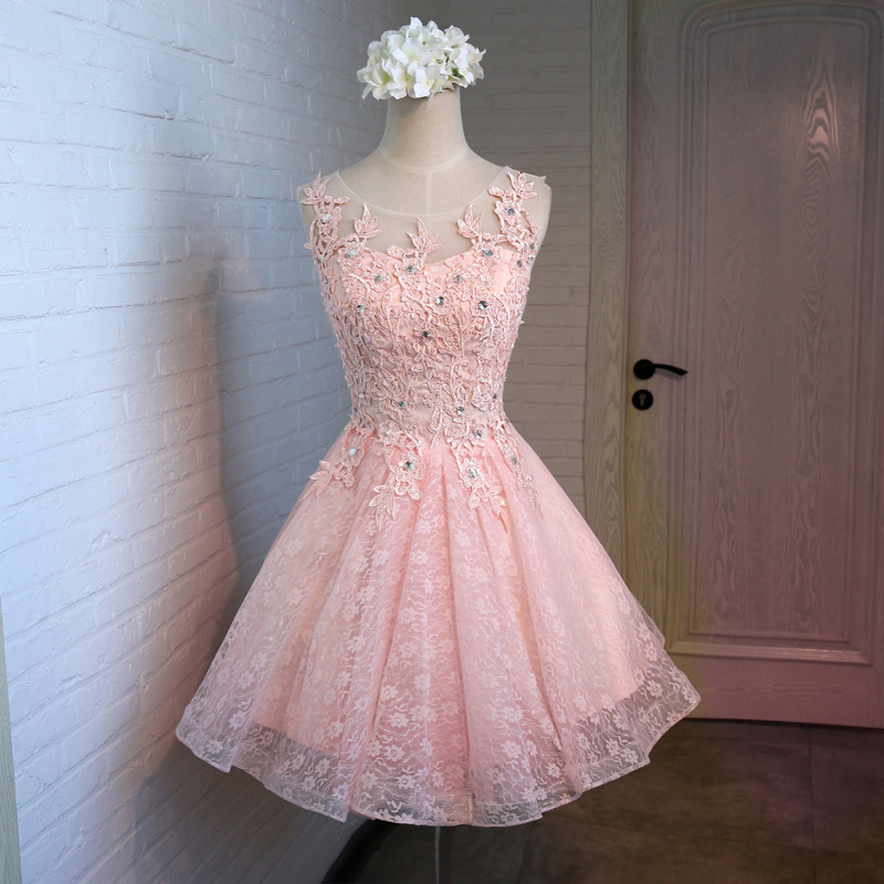 Lace bridesmaid dress beaded crystal A-line prom dresses new arrival evening gown custom