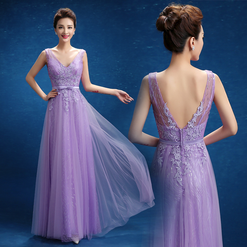 Purple blue evening dress
