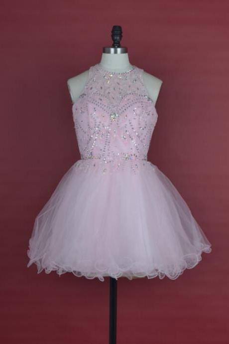 Pink tulle crystal sexy back prom dress short party dresses beauty pattern beaded a-line evening gown