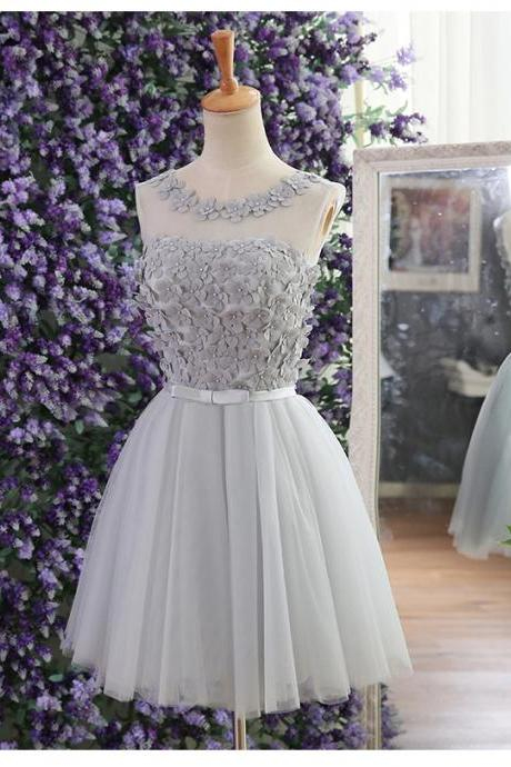Gray tulle flower beaded short prom dresses short a-line party evening gown custom