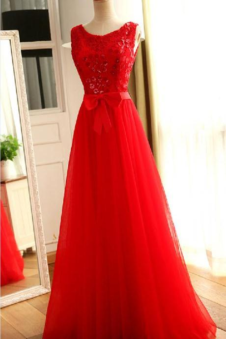Red sequined lace long prom dress a-line tulle sexy backless party dresses formal dresses custom
