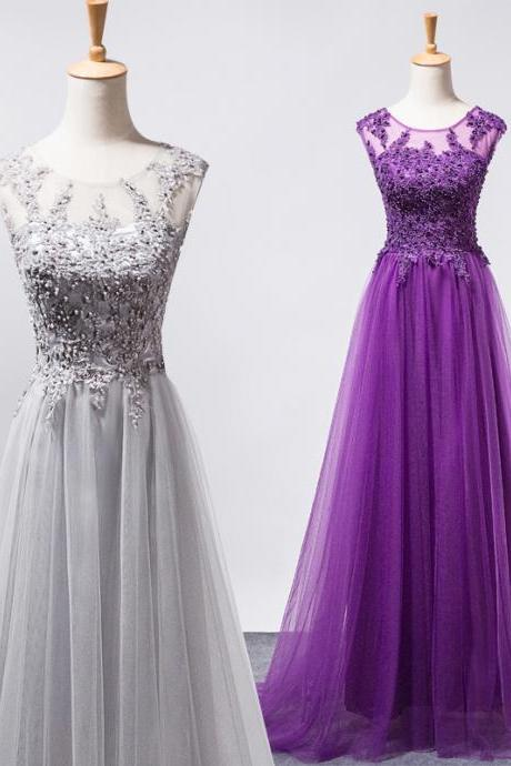 Gray tulle lace applique beaded crystal prom dresses long lace up party dress evening gown