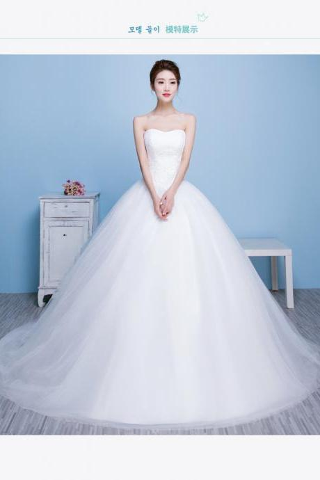 Ivory tulle Sweetheart beaded crystal long lace applique wedding dresses custom