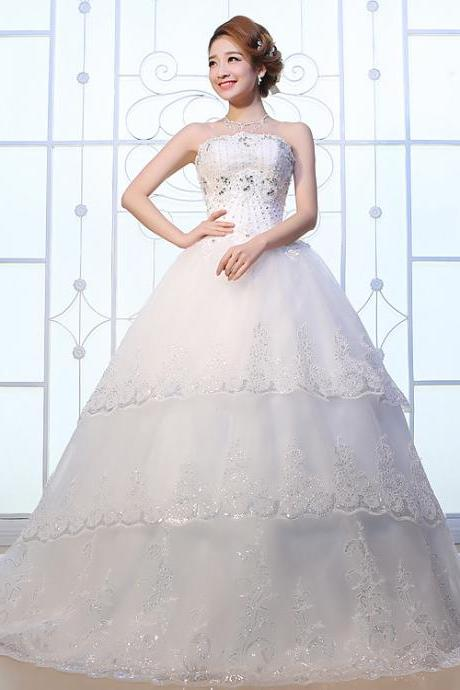 new arrival Bridal dress lace applique long beaded crystal pattern wedding dresses custom