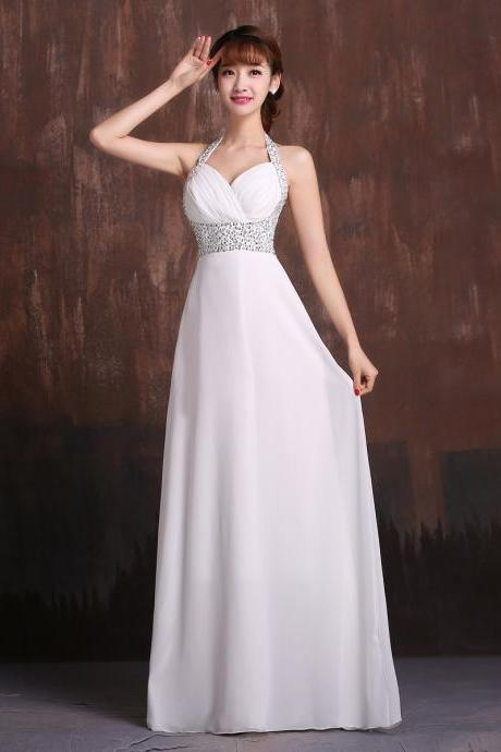 Halter neck beaded crystal Bridesmaid dress pleated long evening party dresses new arrival custom