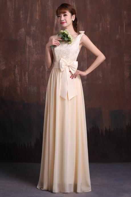 champagne chiffon lace front bow one shoulder prom dresses bridesmaid evening gown cheap