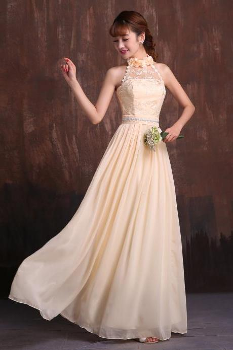 champagne chiffon lace one shoulder/sweetheaert /o-neck/halter prom dresses bridesmaid dresses evening gown cheap