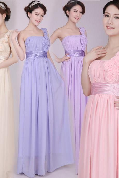 One shoulder prom dresses chiffon pleated flower long bridesmaid dresses formal evening gown