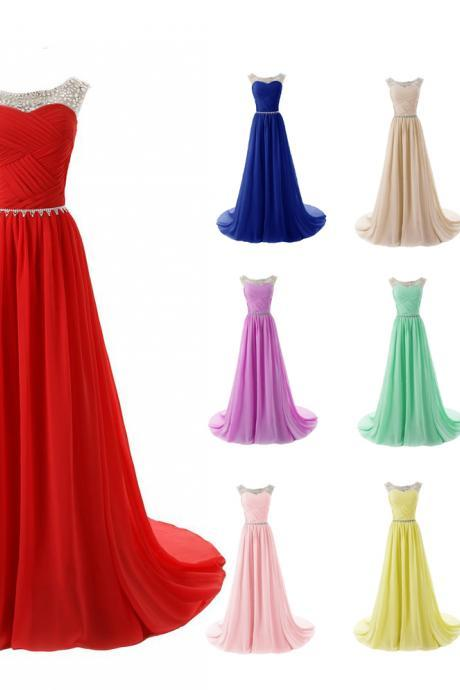 Beautiful beaded crystal prom dress chiffon a-line pleated evening dresses long party gown