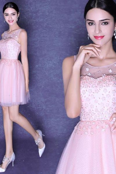 Pink tulle beaded crystal lace applique a-line sexy backless prom dresses custom