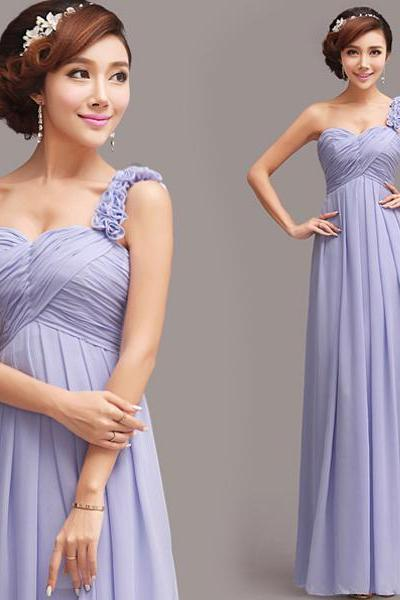 light purple chiffon pleated one shoulder prom dresses long bridesmaid dresses