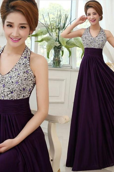 Purple satin beaded crystal a-line prom dresses halter pleated bridesmaid dresses evening gown
