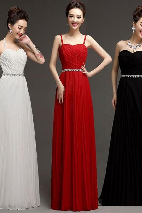 Black/red and Ivory chiffon pleated beaded crystal pleated prom dresses Bridesmaid dress
