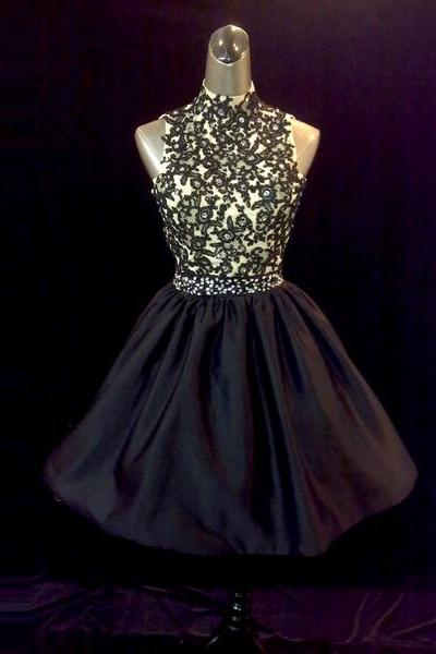 Black taffeta a-line lace applique beaded crystal prom dresses evening party gown