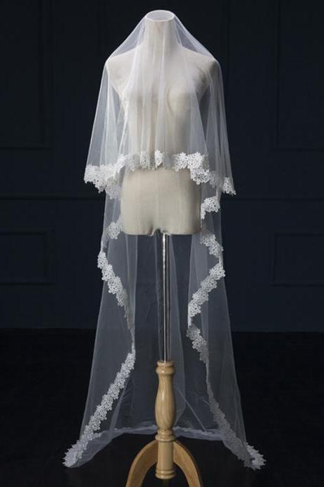Beautiful ivory tulle applique long wedding veil