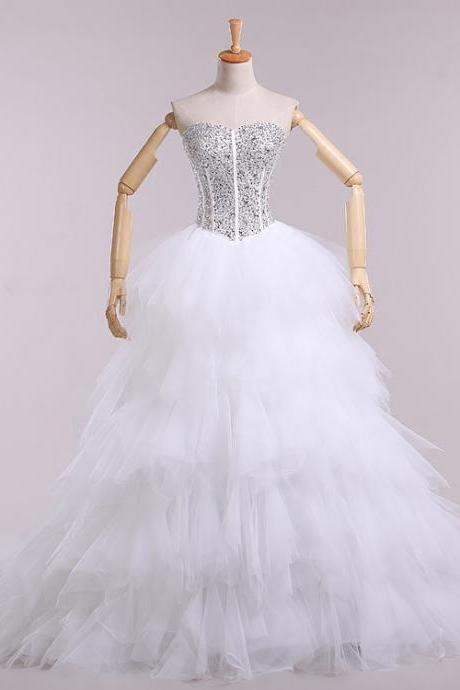 White tulle beaded crystal sweetheart lace up ruffle a-line wedding dress beautiful
