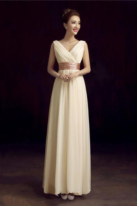 Light champagne chiffon pleated v-neck long prom dresses evening party gown