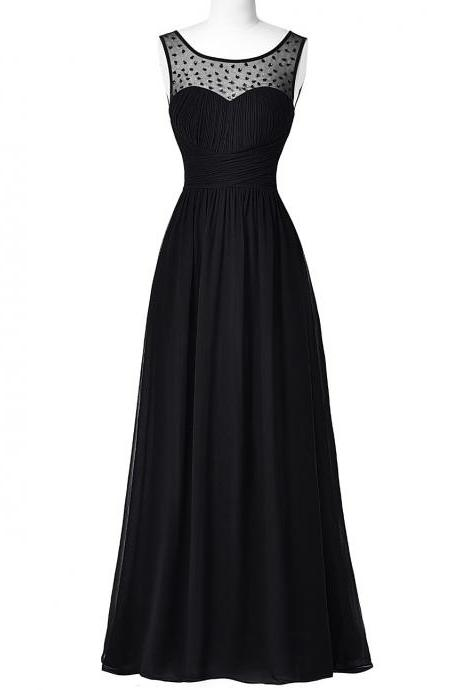 Black chiffon sexy backless beaded prom dresses long custom new arrival