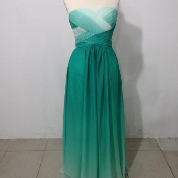 Two color chiffon beaded crystal prom dresses pleated sexy backless party dress bridesmaid evening gown